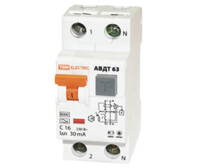 Автоматический выключатель дифференциального тока АВДТ63